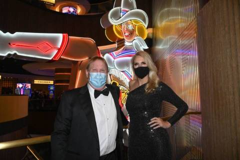 Las Vegas Raiders owner Mark Davis and Westgate Las Vegas President and General Manager Cami Ch ...