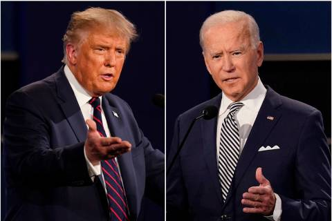 These Sept. 29, 2020, photos show President Donald Trump, left, and former Vice President Joe B ...