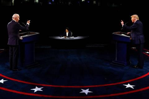 President Donald Trump and Democratic presidential candidate former Vice President Joe Biden ta ...