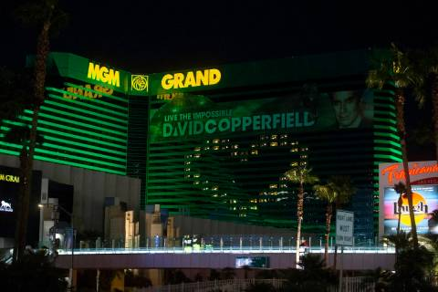 The MGM Grand in Las Vegas is seen in this April 1, 2020, file photo. (Benjamin Hager/Las Vegas ...