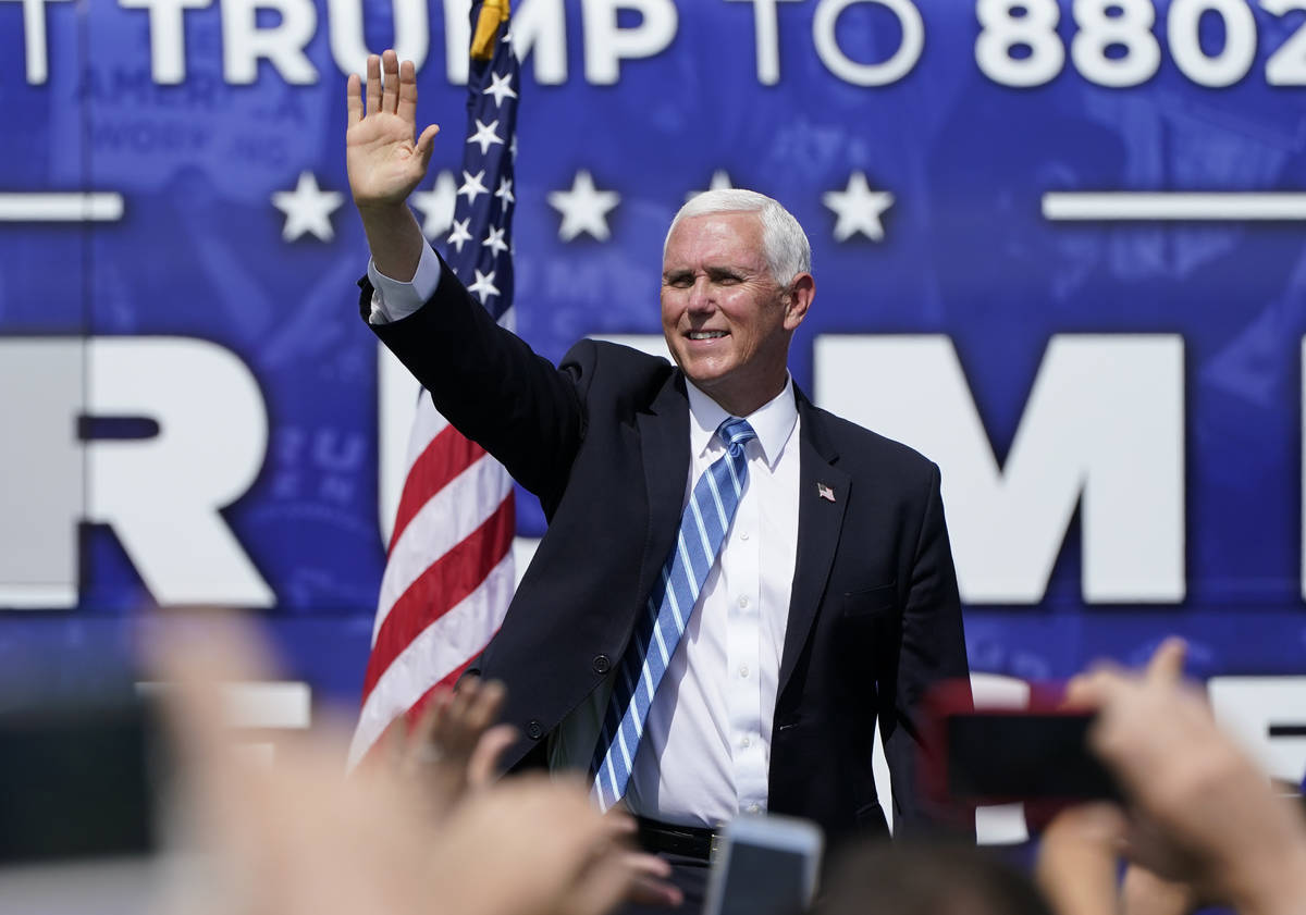Vice President Mike Pence speaks at a campaign rally at the Cuban Memorial Monument, Thursday, ...