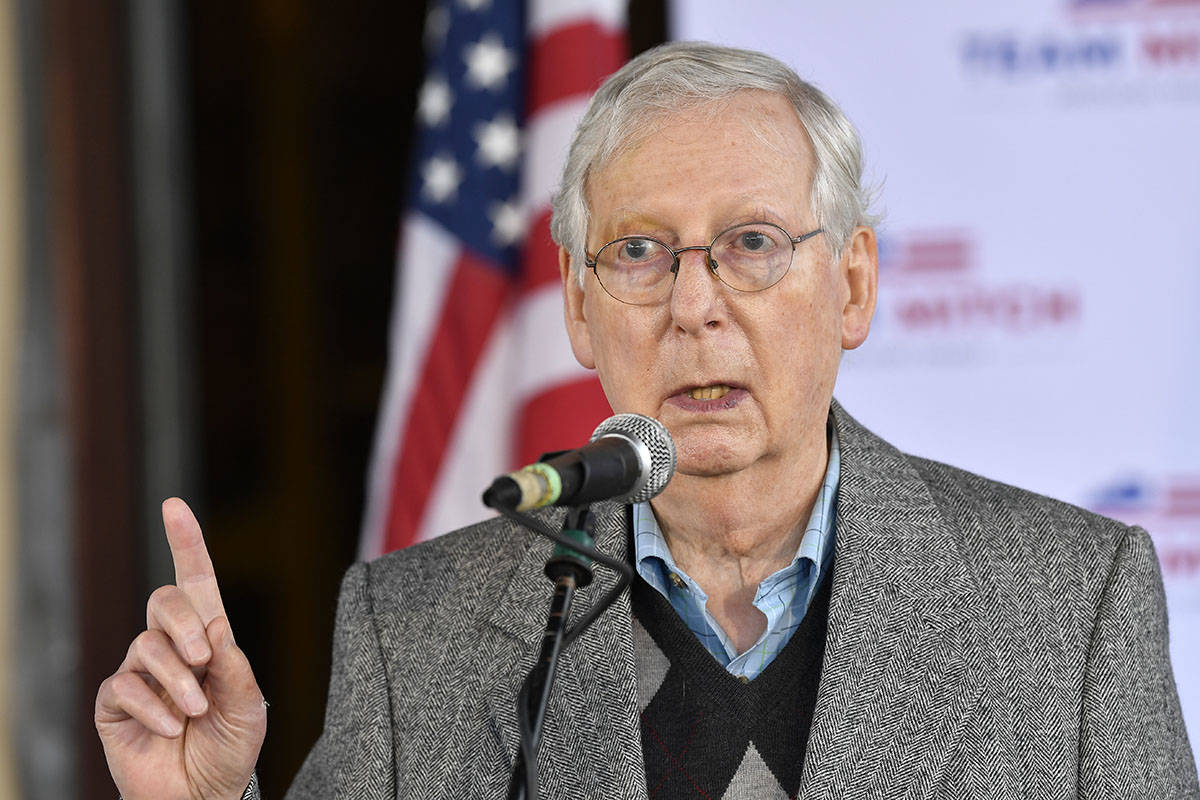 Senate Majority Leader Mitch McConnell, R-Ky., speaks to a gathering of supporters in Lawrenceb ...