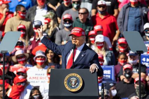 President Donald Trump speaks during a rally at Laughlin/Bullhead International Airport, on Wed ...