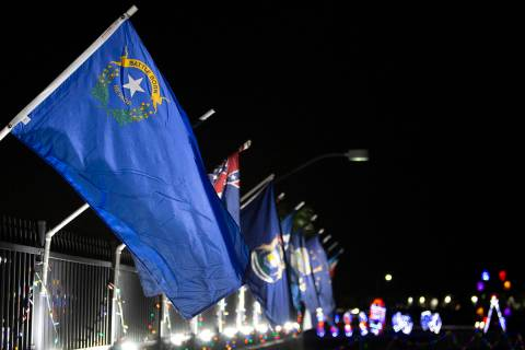 The Nevada state flag is seen at Las Vegas Motor Speedway in this Nov. 10, 2019, file photo. Da ...