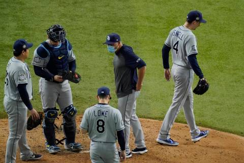 Tampa Bay Rays starting pitcher Blake Snell leaves the game against the Los Angeles Dodgers dur ...