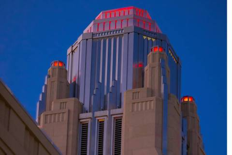 Smith Center for the Performing Arts tests of red lights at the bell tower at for the We Make E ...