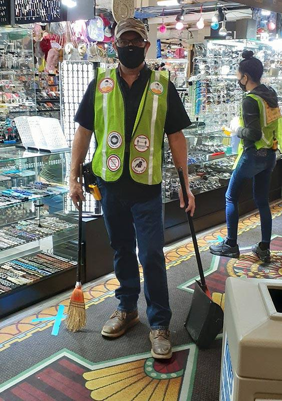Ted Gleason is one of several COVID-19 observers/cleaners who patrol aisles at Fantastik to ens ...