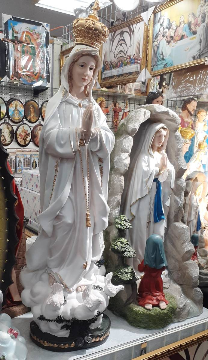 A walk down one aisle at Fantastik can bring widely varied shopping options. These statues are ...