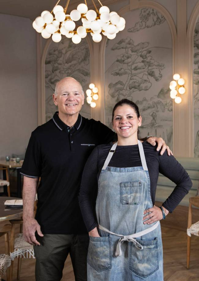 Rod Marinelli, defensive line coach for the Las Vegas Raiders, with his daughter, Gina Marinell ...
