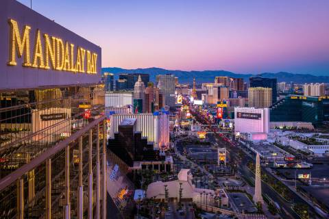 A view of the Las Vegas Strip from the Foundation Room at the top of Mandalay Bay. (Kristopher ...