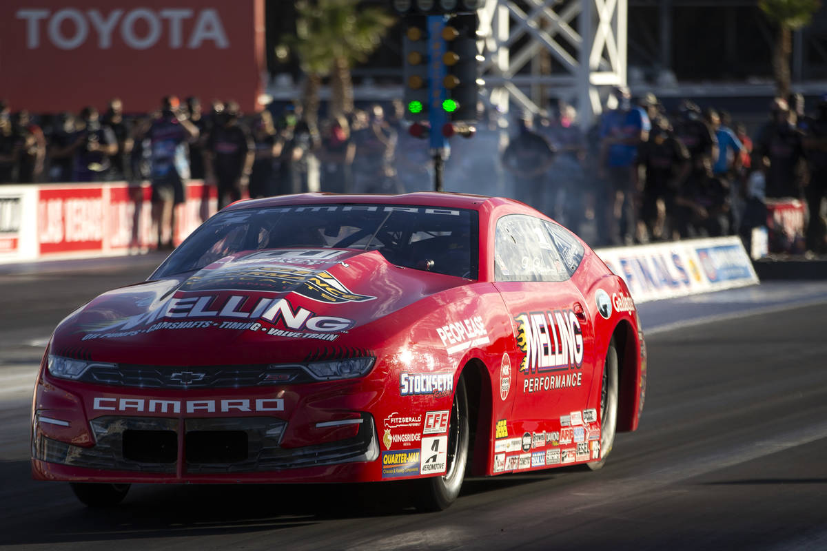 Pro Stock driver Erica Enders races during the Dodge NHRA Finals at Las Vegas Motor Speedway on ...