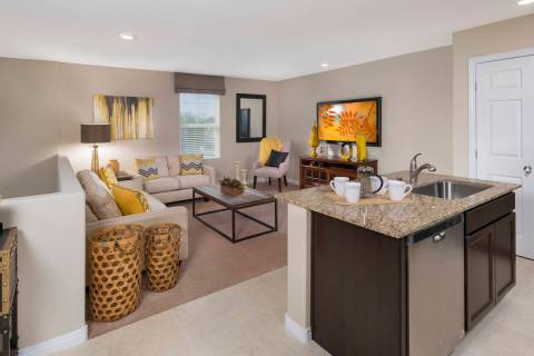 Cliffs at Dover by Beazer Homes is a collection of two-story town homes near Nellis Air Force B ...