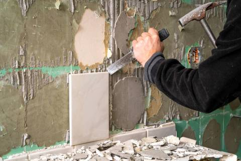 The best way to separate the tile from the drywall is to use a putty knife or other suitable fl ...