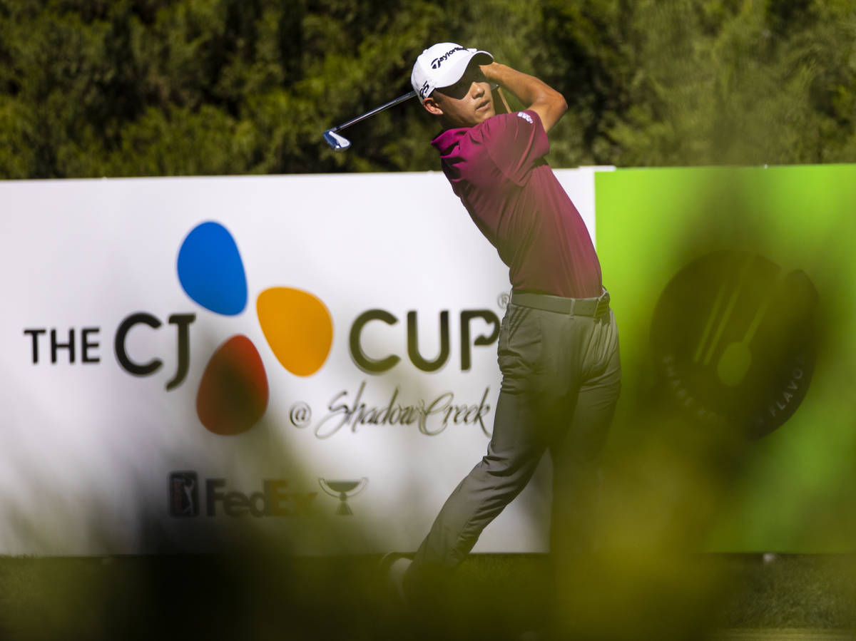 Collin Morikawa tees off at the fifth hole during the third round of the CJ Cup at the Shadow C ...