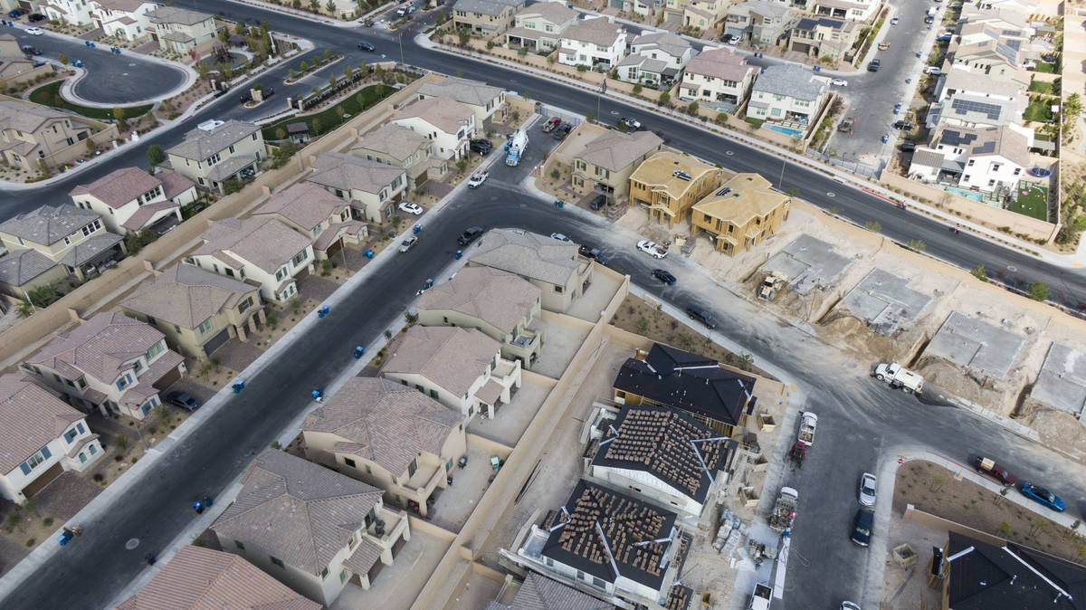 An aerial view of Woodlands at Skye Canyon, a housing development near Skye Village Road and Ea ...