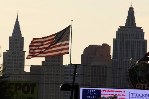 New York-New York is seen as a large American flag blows in the wind on Tuesday, May 12, 2020, ...