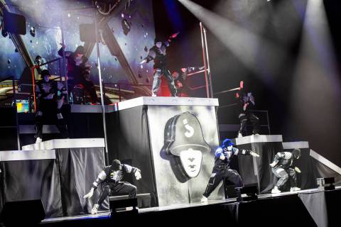 "The Jabbawockeez perform in their production, ""Timeless,"" at the MGM Grand Garden Are ..."