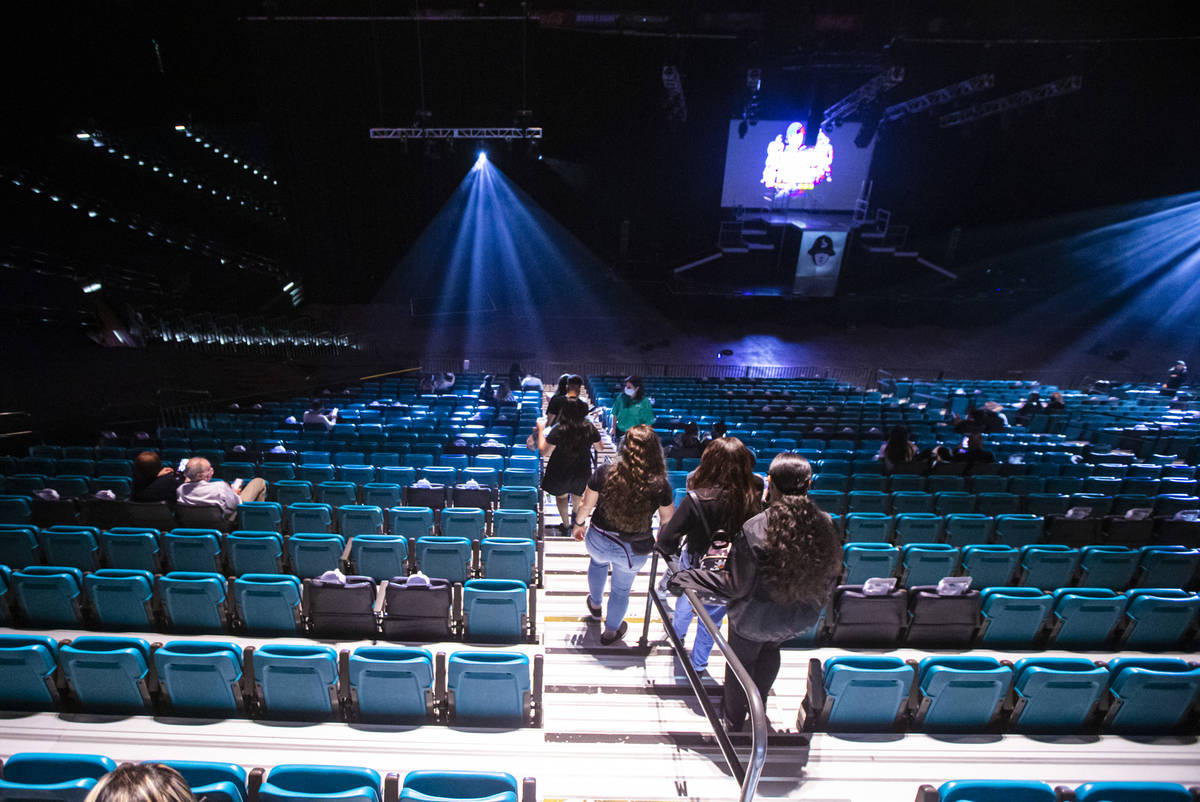 """People arrive for """"Timeless"""" by the Jabbawockeez at the MGM Grand Garden Arena in Las ..."""