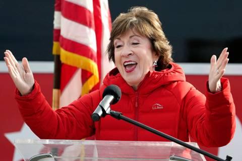 Republican Sen. Susan Collins, R-Maine, speaks on Wednesday, Nov. 4, 2020, in Bangor, Maine, af ...
