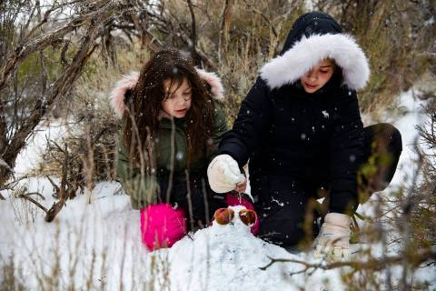 Janelle Gonzalez, 8, left, and her sister Gianna Gonzalez, 10, right, work on a snowman at Mt. ...