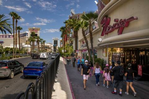The Las Vegas Strip at the Flamingo was active during Labor Day weekend on Sept. 5, 2020, in La ...