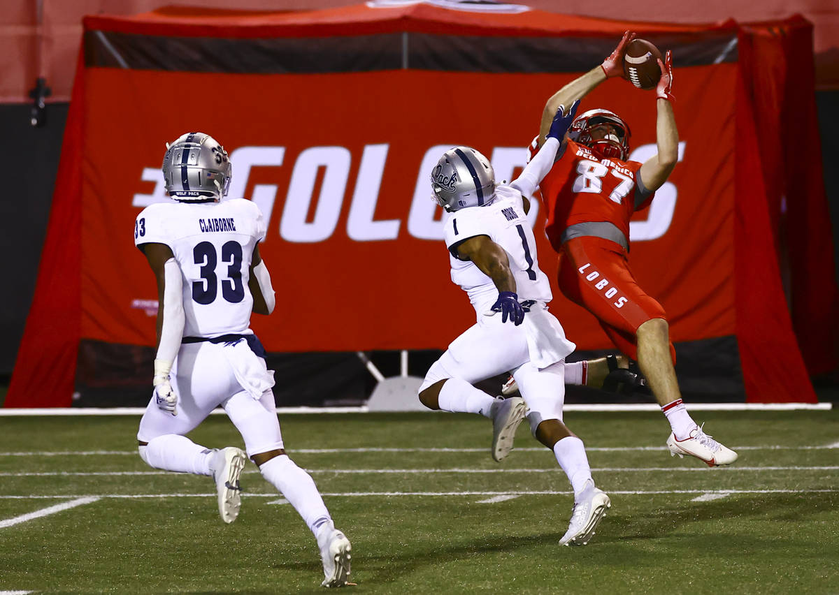New Mexico Lobos wide receiver Andrew Erickson (87) catches a pass under pressure from UNR Wolf ...