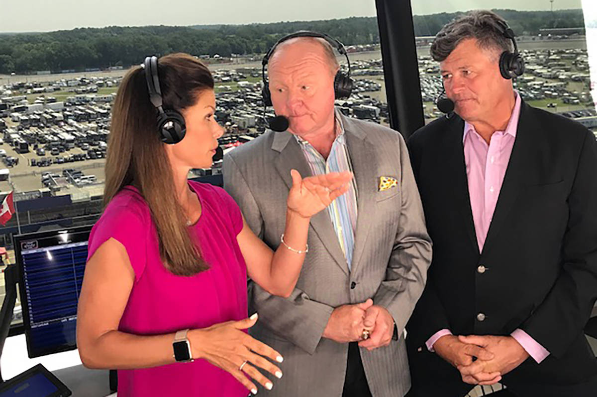 Green Valley High graduate Jamie Little, left, shown in the NASCAR broadcast booth with Larry M ...
