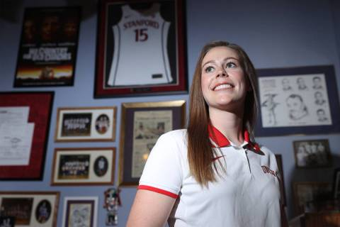 Lindy La Rocque, new head coach for UNLV women's basketball team, poses for a portrait at her f ...