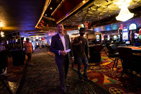 Jonathan Jossel, CEO of the Plaza, walks the casino floor as hotel-casinos reopen in downtown L ...
