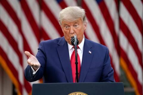 President Donald Trump speaks in the Rose Garden of the White House, Friday, Nov. 13, 2020, in ...