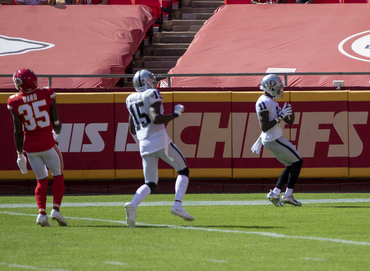 Las Vegas Raiders wide receiver Henry Ruggs III (11) scores a touchdown during the 2nd quarter ...