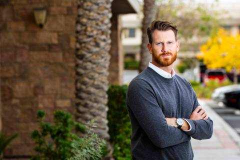 Taylor Verhaalen, president of Stout Property Management, poses for a portrait outside in Las V ...