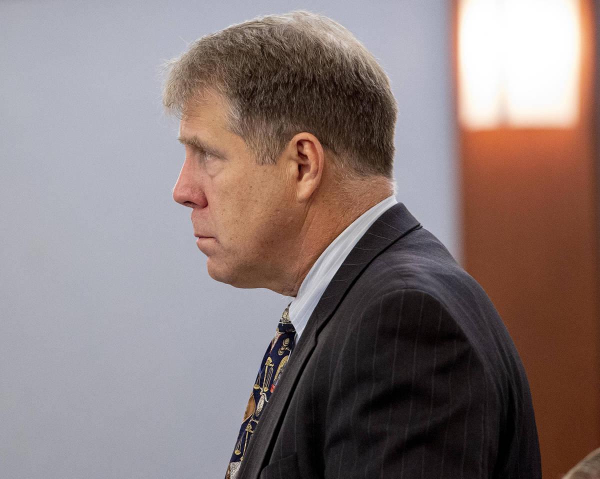 Defense attorney Craig Mueller speaks at the Regional Justice Center in Las Vegas on Dec. 3, 20 ...
