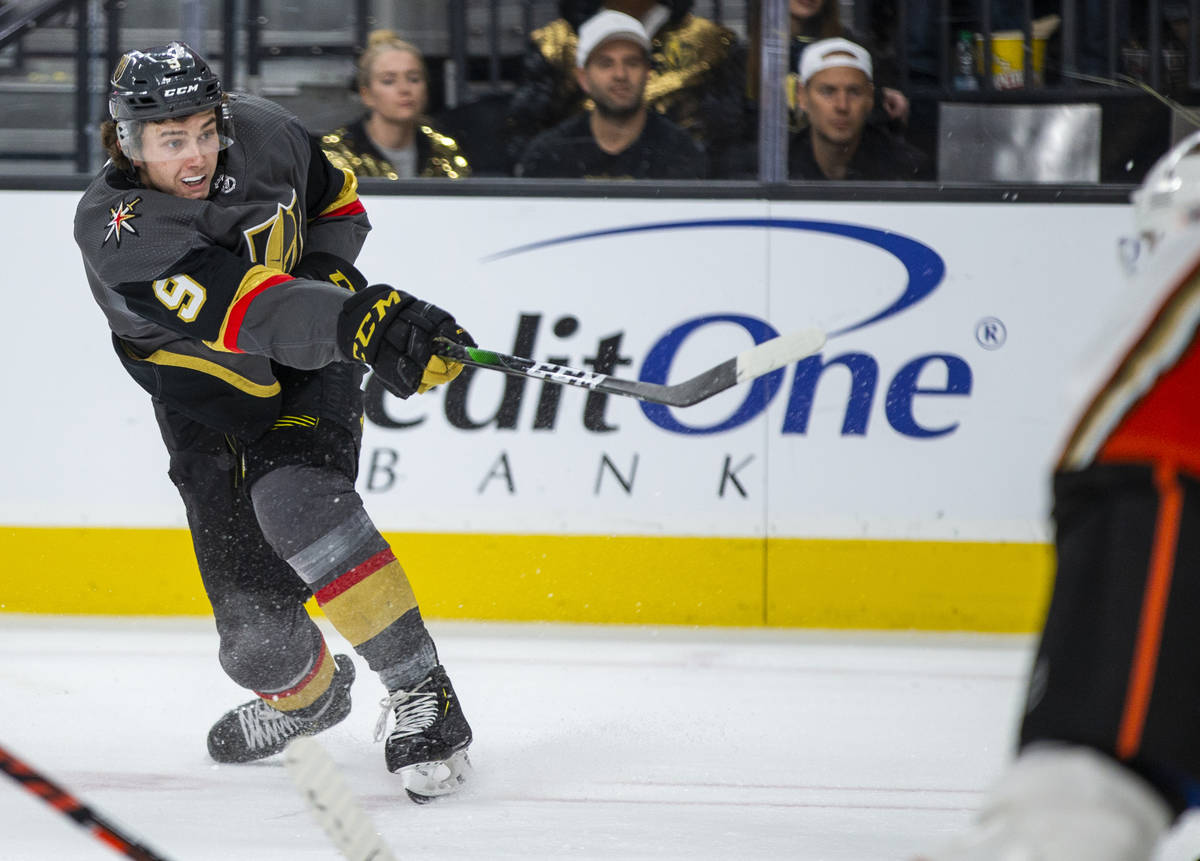 Vegas Golden Knights center Cody Glass (9) fires a shot a goal versus the Anaheim Ducks during ...