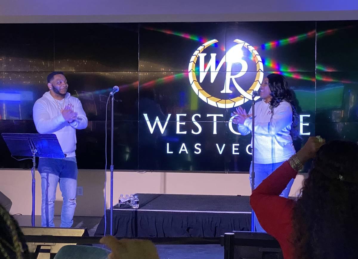 Brandon and Sean Godfrey of NPerson are shown at Westgate Las Vegas' International Bar on Nov. ...