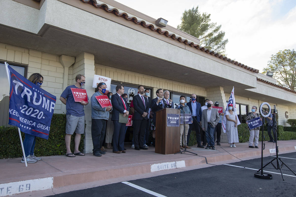 Nevada GOP leaders give a press conference announcing a new elections lawsuit against Clark Cou ...
