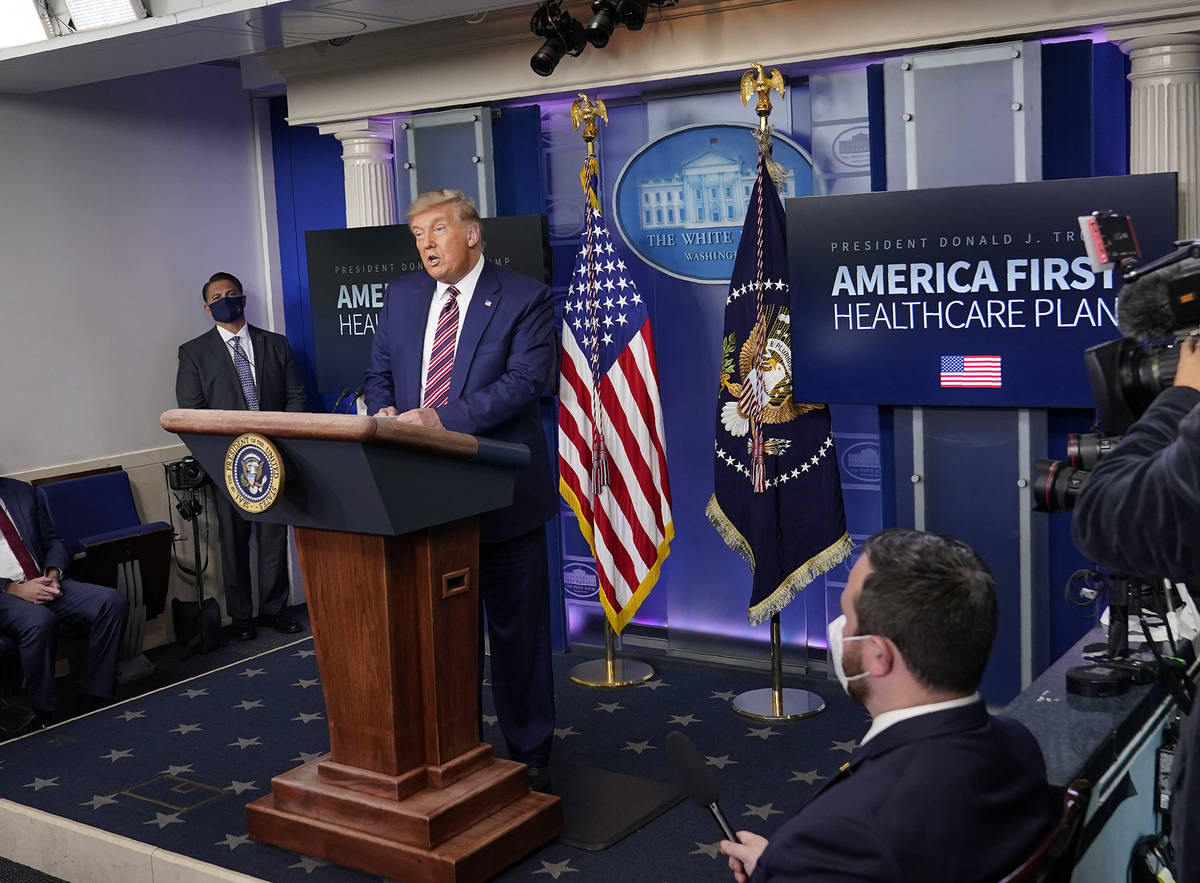 President Donald Trump speaks during an event in the briefing room of the White House in Washin ...