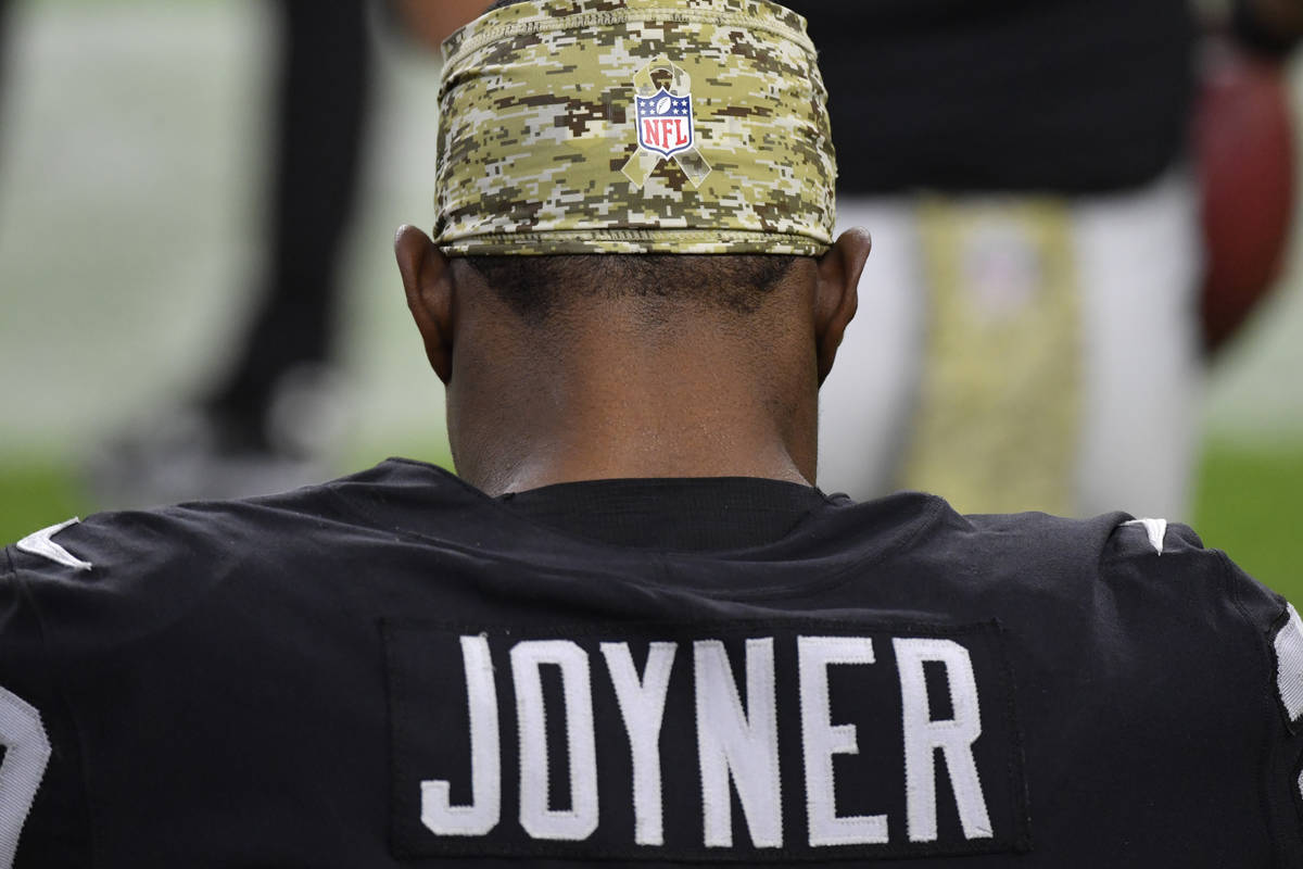 Las Vegas Raiders free safety Lamarcus Joyner #29 is seen on the sidelines during the second ha ...