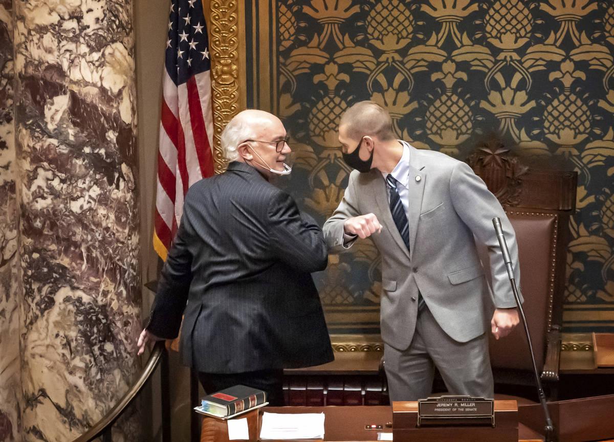 FILE - In this Nov. 12, 2020 file photo, outgoing Minnesota State Senate President Senate Presi ...
