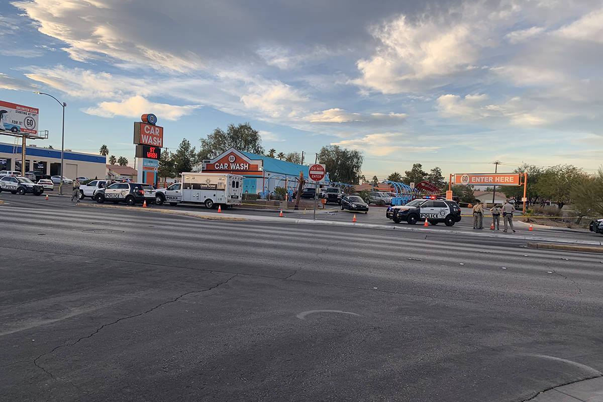 Las Vegas police are investigating a deadly shooting Tuesday, Nov. 17, 2020, at a car wash in t ...