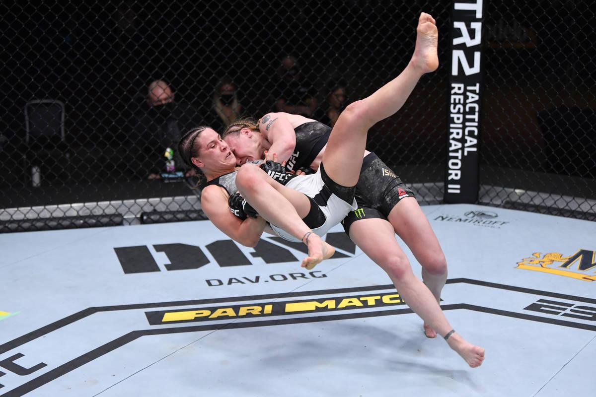 LAS VEGAS, NV - NOVEMBER 21: (R-L) Valentina Shevchenko of Kyrgyzstan takes down Jennifer Mai ...
