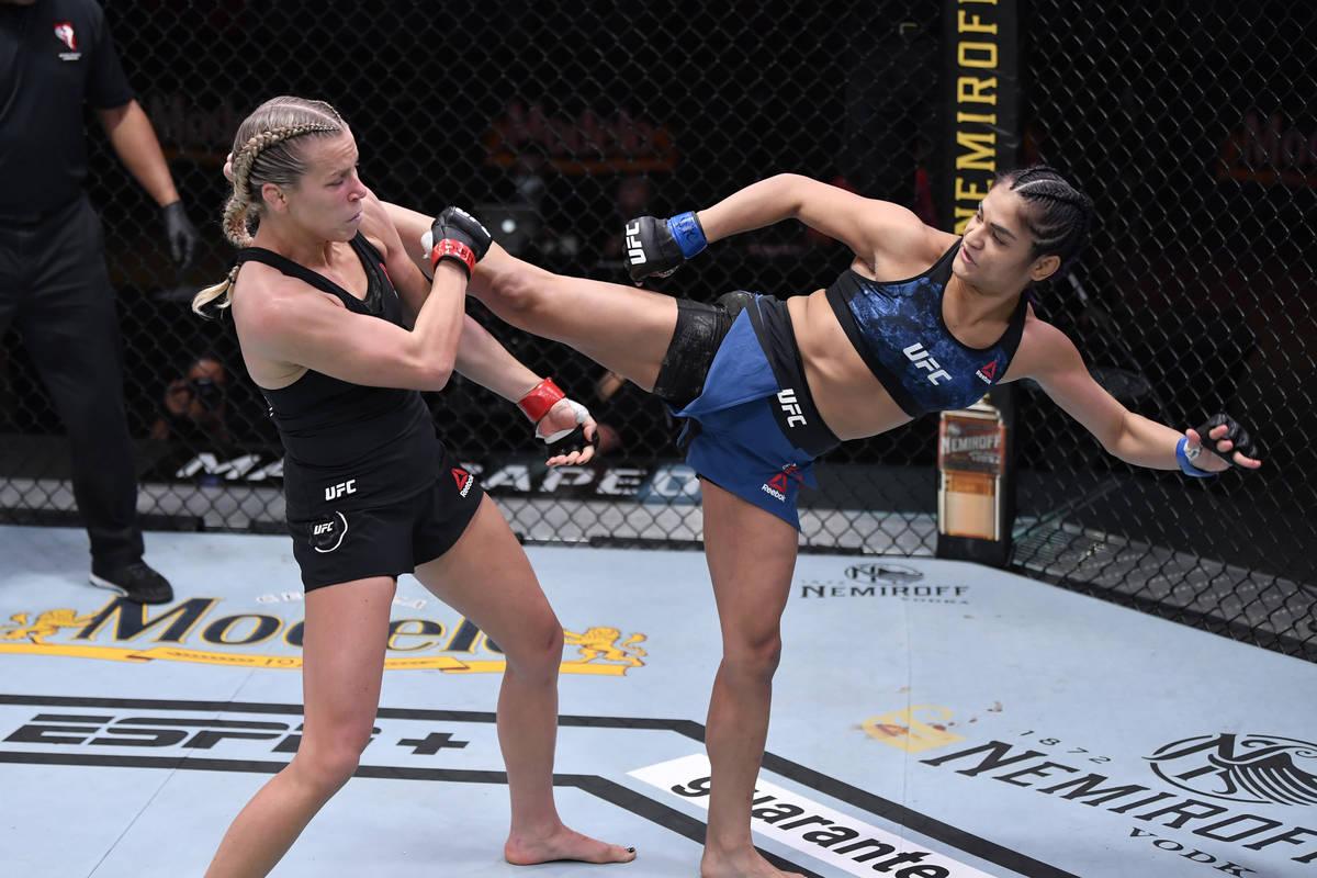 LAS VEGAS, NEVADA - NOVEMBER 21: (R-L) Cynthia Calvillo kicks Katlyn Chookagian in their women ...