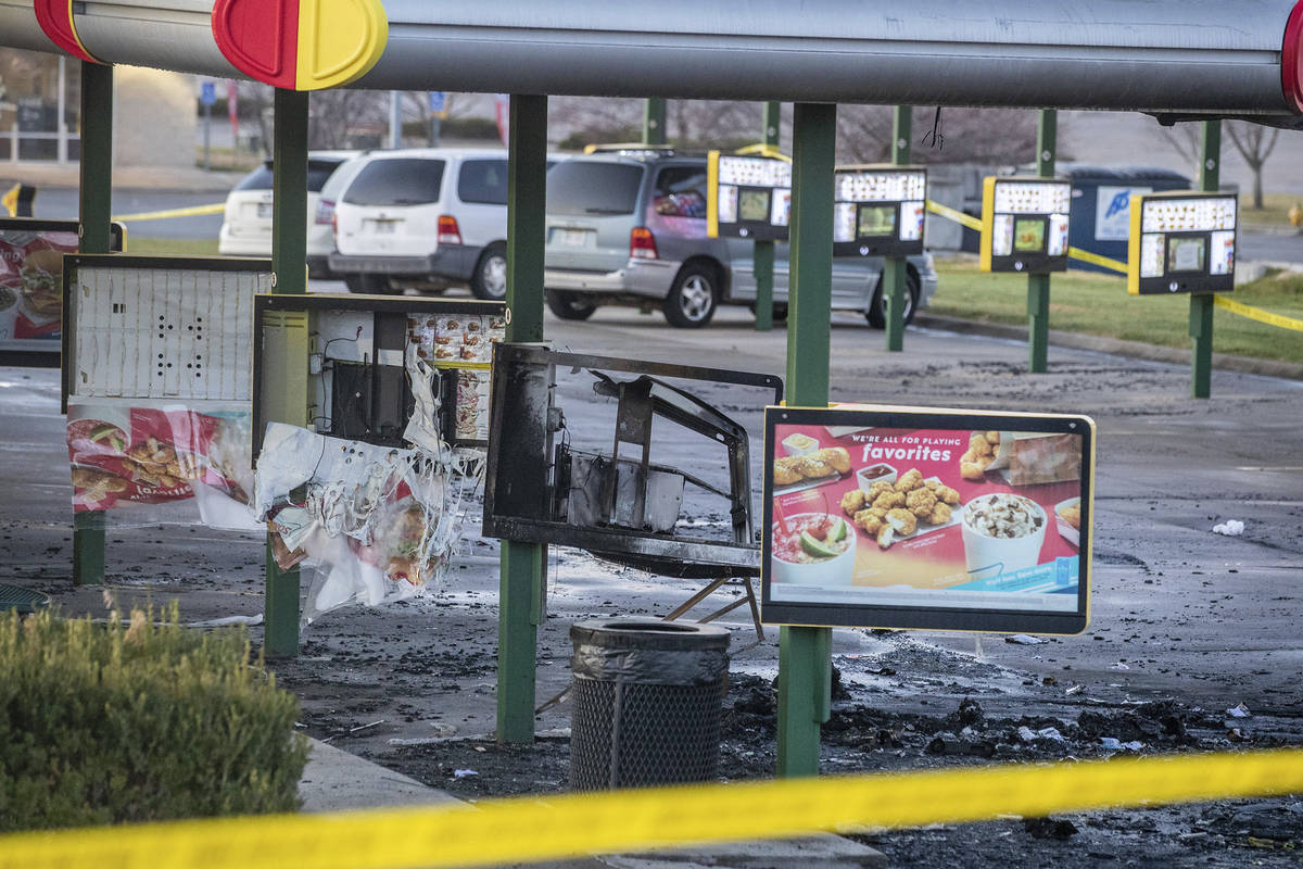 This Sunday, Nov. 22, 2020 photo shows the scene after a shooting at a Sonic restaurant on Satu ...
