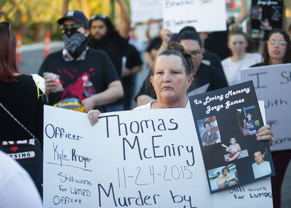 Carol Luke, whose son was killed by Las Vegas police in 2015, walks north on the Strip during a ...