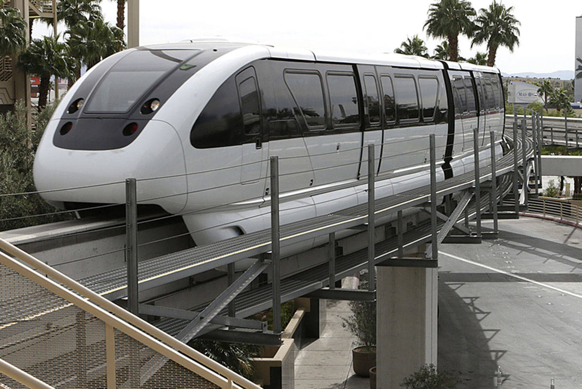 A Las Vegas Monorail approaches MGM Station. Bizuayehu Tesfaye/Las Vegas Review-Journal Follow ...