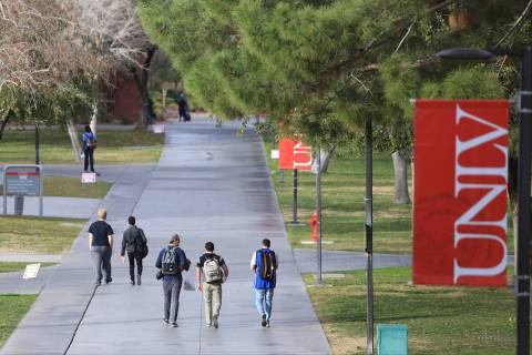 Students walk along a sidewalk at UNLV in this Feb. 9, 2017, file photo. (Las Vegas Review-Journal)