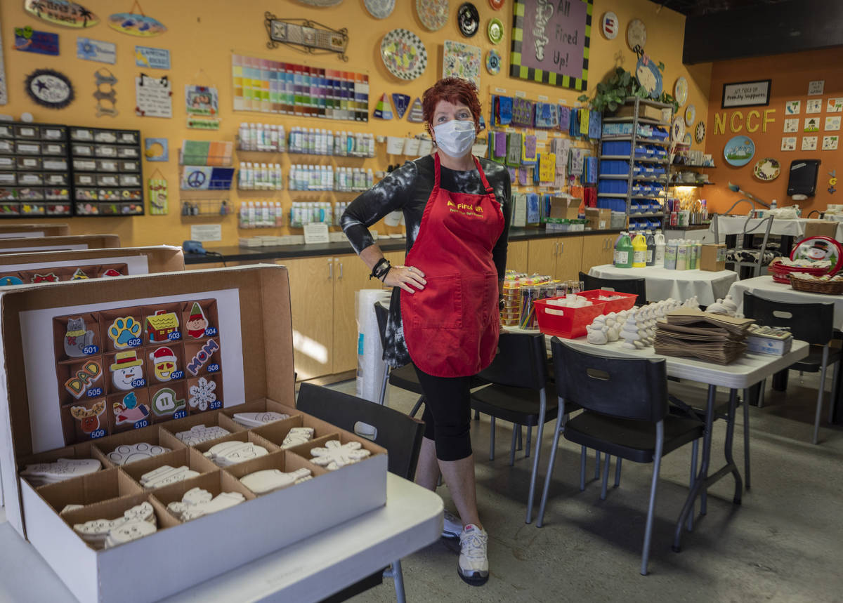 Co-founder of All Fired Up Gail Schomisch is seen in the paint-your-own pottery studio, on Tues ...