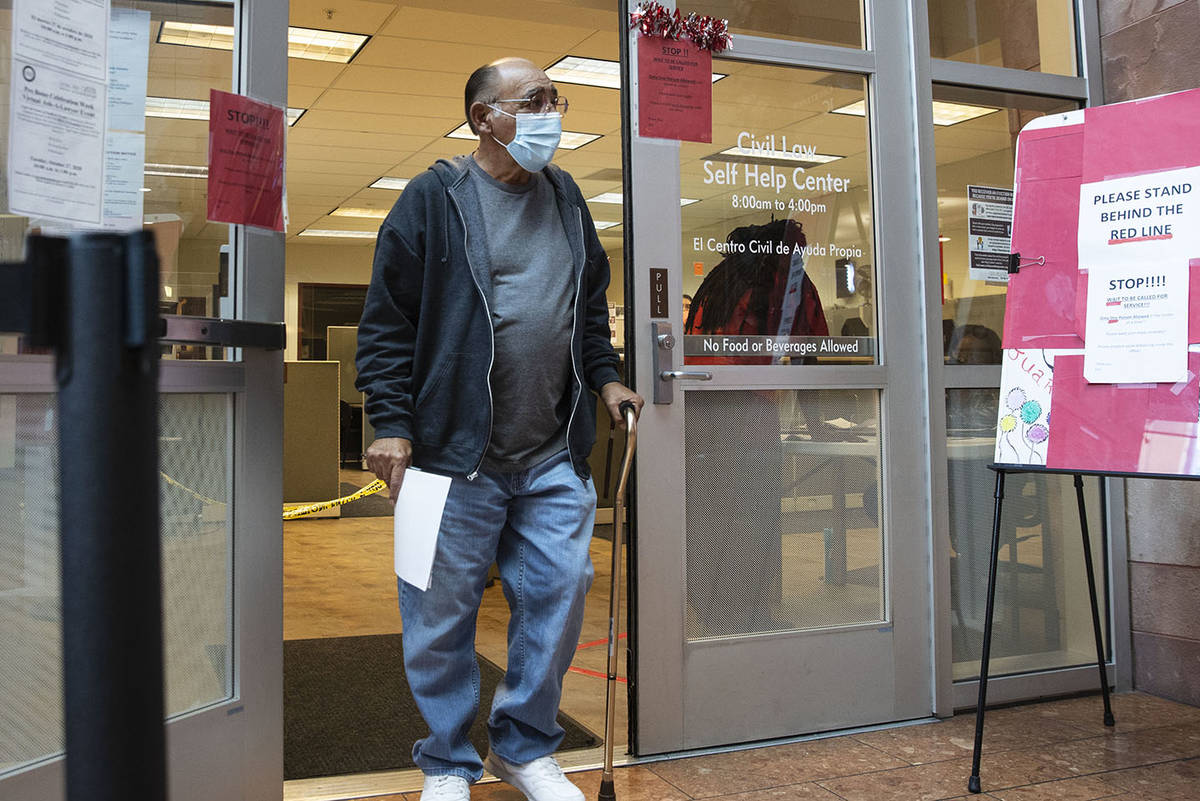 Jimmy Marks leaves the Civil Law Self-Help Center, operated by the Legal Aid Center of Southern ...