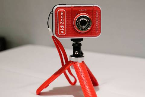 A KidiZoom Creator Cam by VTech is displayed at the Toy Fair, Thursday, Sept. 17, 2020, in New ...