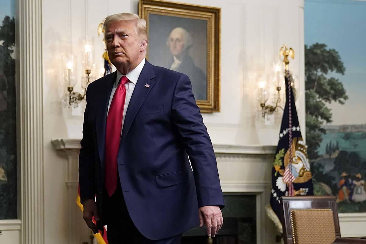 President Donald Trump departs after participating in a video teleconference call with members ...
